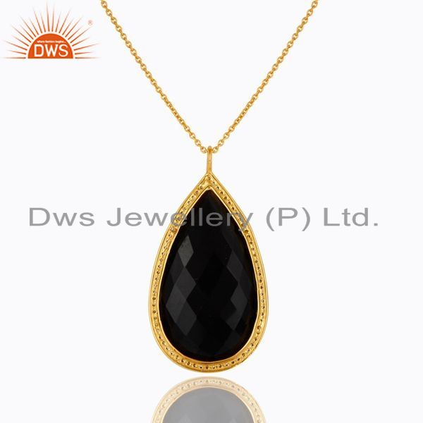 Exporter 22K Yellow Gold Plated Sterling Silver Black Onyx And CZ Drop Pendant With Chain
