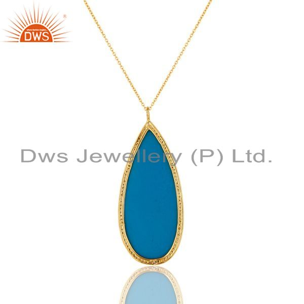 Exporter 18K Gold Plated Sterling Silver and Turquoise Cultured Prong Set Pendant