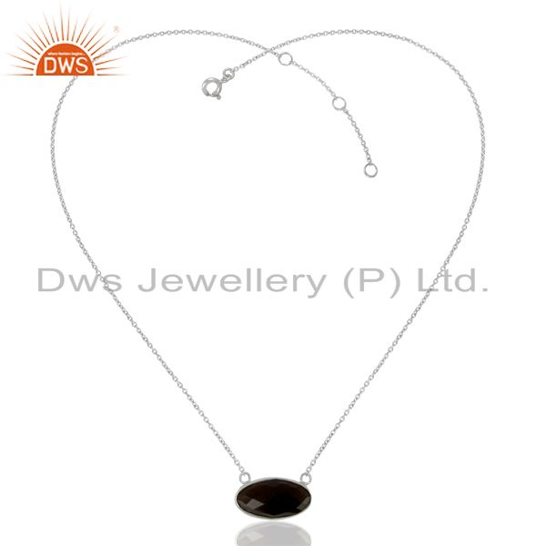 Exporter Smoky Topaz Vintage Sterling Silver White Rhodium  Plated Pendants And Necklace