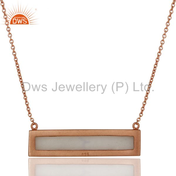 Exporter Rose Gold Plated Flat Cut White Agate Sterling Silver Necklace