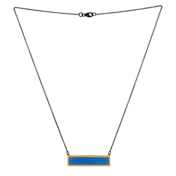 Exporter 18K Gold Plated & Oxidized Sterling Silver Chalcedony Chain Pendant Necklace