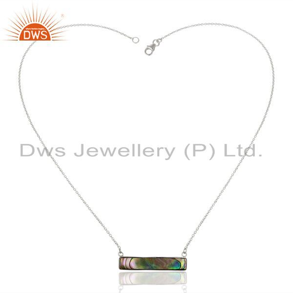 Exporter Abalone Shell Rectangle Sterling Silver Pendant & Necklace Wholesale Jewellery