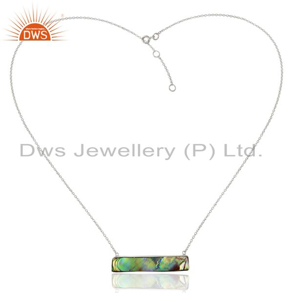 Exporter Abalone Shell Rectangle Sterling Silver Pendant And Necklace Gemstone Jewelry
