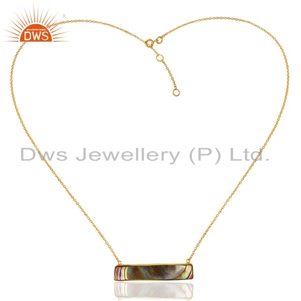 Exporter Abalone Shell Rectangle 92.5 Sterling Silver 14K Gold Plated Pendant & Necklace
