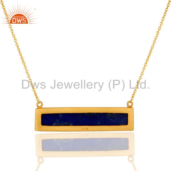 Exporter Yellow Gold Plated Flat Cut Lapis Lazuli Sterling Silver Necklace