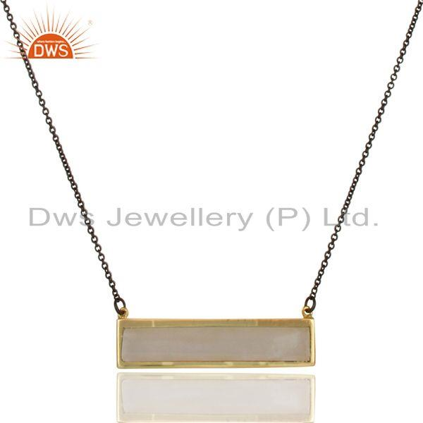 Exporter 18K Gold Plated & Black 925 Silver Rainbow Moonstone Chain Pendant Necklace