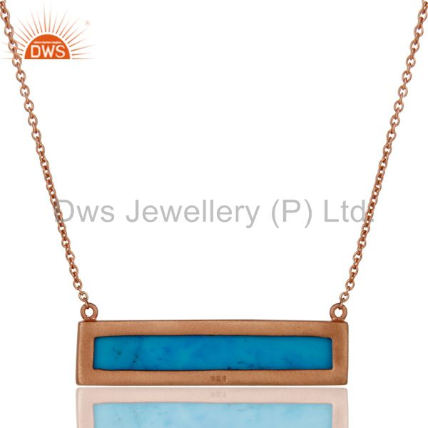 Exporter Rose Gold Plated Turquoise Sterling Silver Pendant Necklace