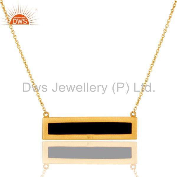 Exporter 18K Yellow Gold Plated Black Onyx Sterling Silver Flat Pendant Necklace