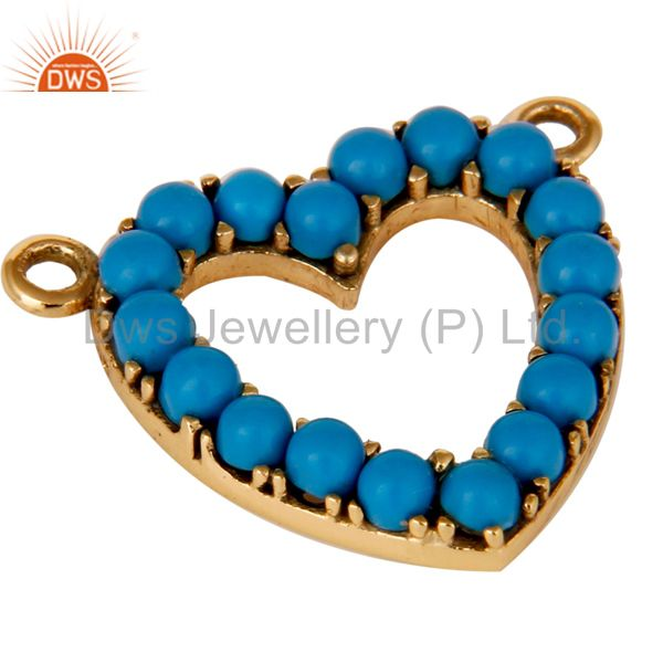 Exporter 9K Solid Gold and Turquoise Heart Shape Connector Pendant Necklace Gold Jewelry
