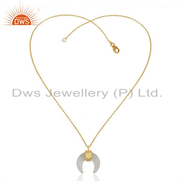 Exporter Crystal Quartz Crescent Moon Sterling Silver Gold Plated Pendant And Necklace