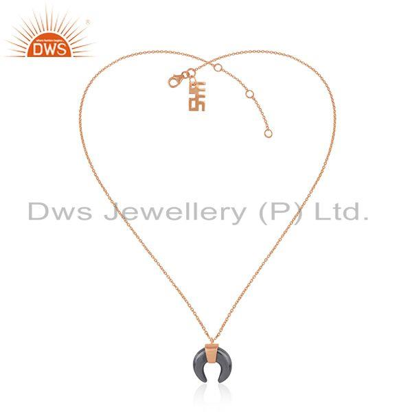 Exporter Hematite Gemstone Rose Gold Plated Silver Chain Pendant Jewelry