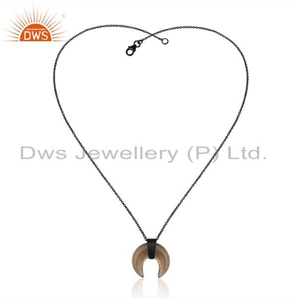 Exporter Smoky Topaz Crescent Moon Sterling Silver Black Rhodium Plated Pendant Jewelry