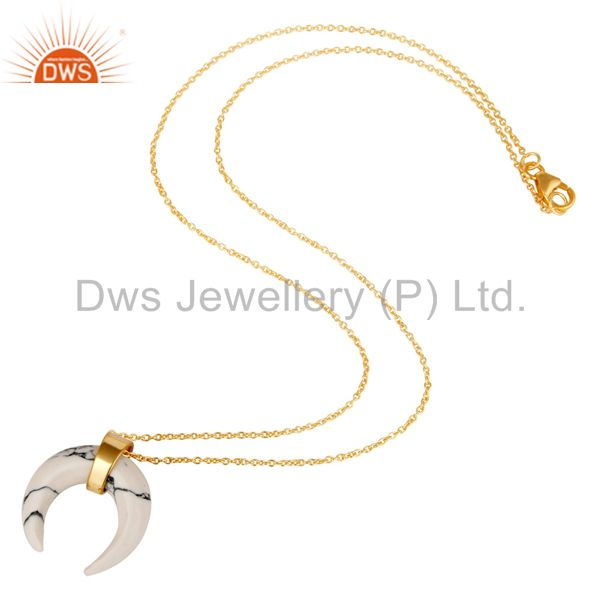 Exporter White Howlit Crescent Moon Sterling Silver 18k Gold Plated Pendant Jewelry
