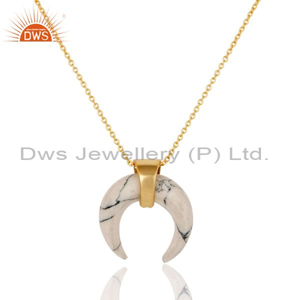 Exporter White Howlit Crescent Moon Sterling Silver Yellow Gold Plated Pendant Jewelry