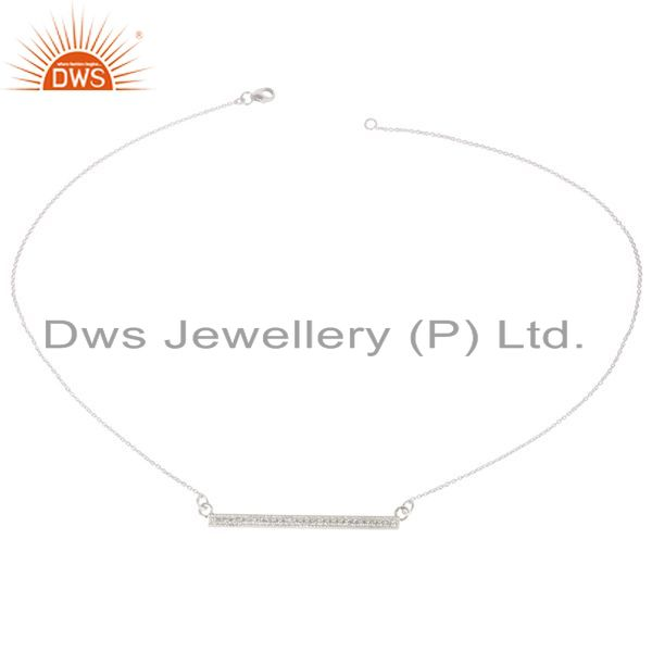 Exporter Handmade Solid 925 Sterling Silver White Zirconia Chain Pendant Necklace