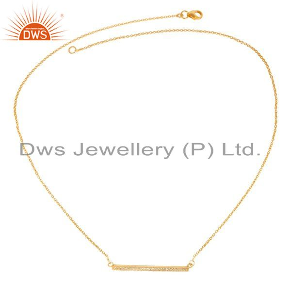 Exporter 18K Yellow Gold Plated 925 Sterling Silver White Zirconia Chain Pendant Necklace