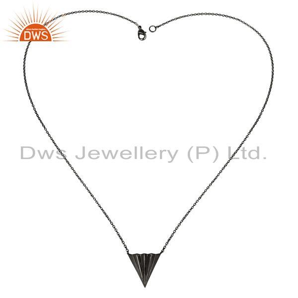 Exporter Black Oxidized 925 Sterling Silver Handmade Trillion Point Style Chain Pendant