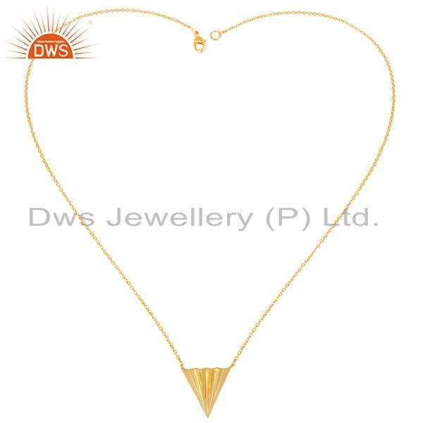 Exporter 14K Gold Plated 925 Sterling Silver Handmade Trillion Point Style Chain Pendant