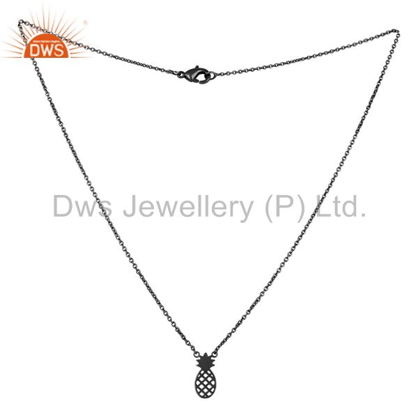 Exporter Black Oxidized 925 Sterling Silver Handmade Pineapple Style Chain Pendant