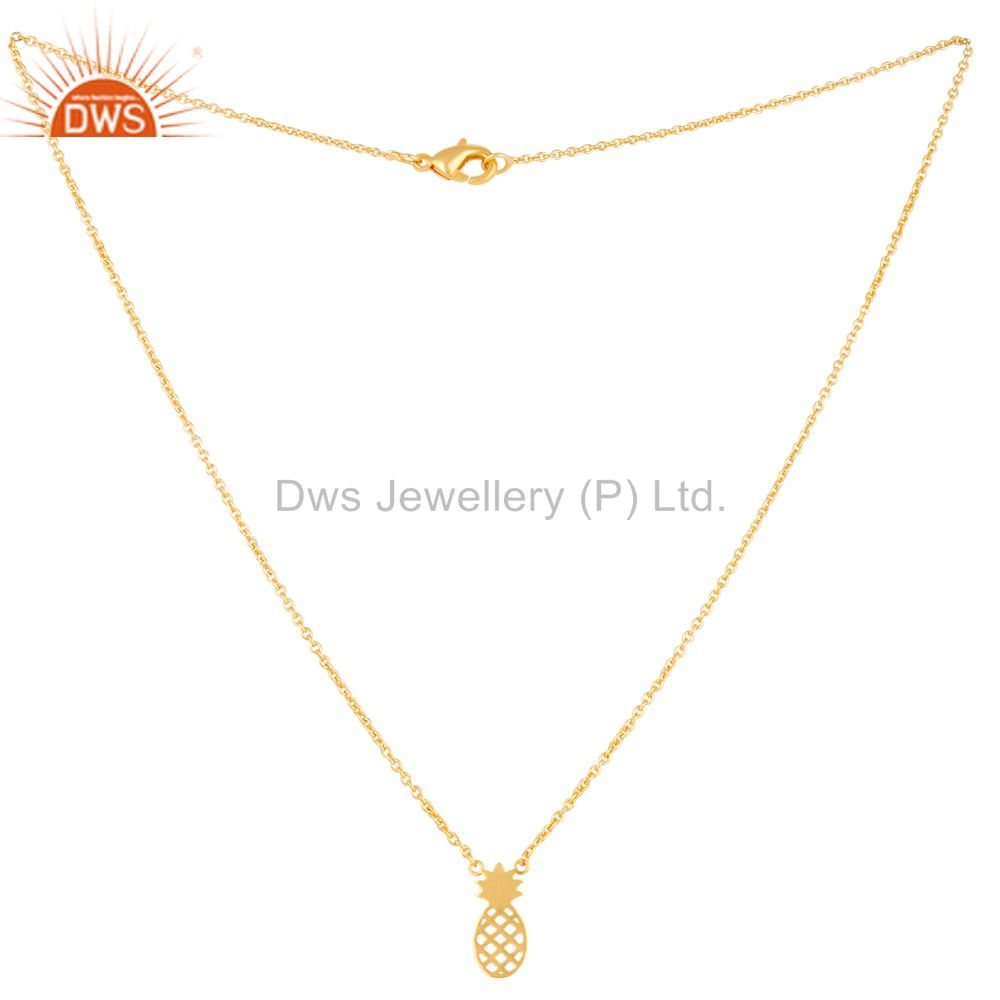 Exporter 14K Gold Plated 925 Sterling Silver Handmade Pineapple Style Chain Pendant