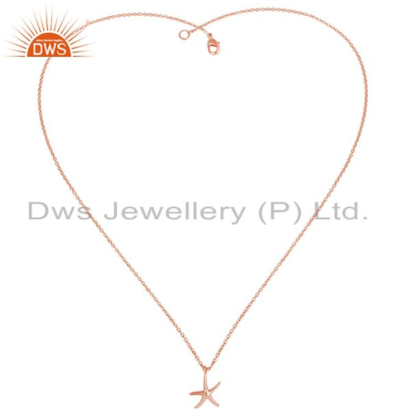Exporter 14K Rose Gold Plated Sterling Silver Handmade Fashion Star Style Chain Pendant