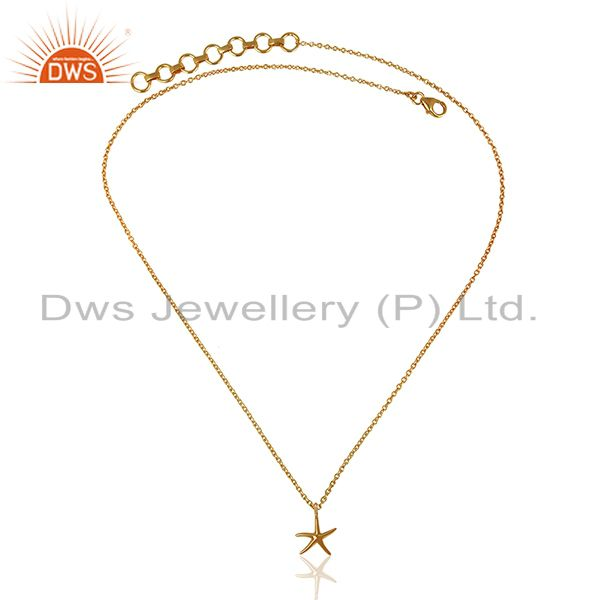 Exporter 14K Gold Plated 925 Sterling Silver Handmade Fashion Star Style Chain Pendant