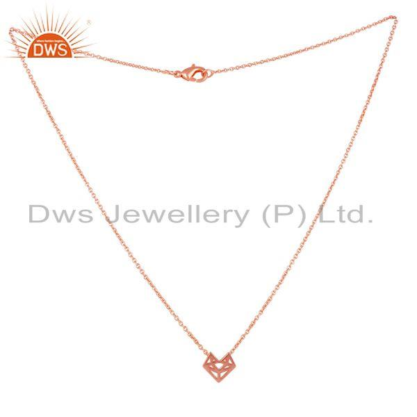 Exporter 14K Rose Gold Plated 925 Sterling Silver Handmade Artisan Chain Pendant Jewelry