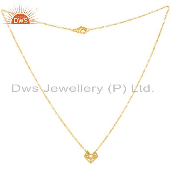 Exporter 14K Yellow Gold Plated 925 Sterling Silver Handmade Artisan Chain Pendant