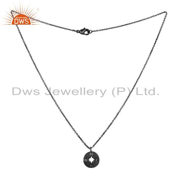 Exporter Black Oxidized 925 Sterling Silver Handmade Astrology Style Chain Pendant
