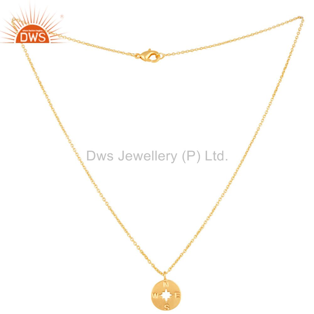Exporter 14K Gold Plated 925 Sterling Silver Handmade Astrology Style Chain Pendant