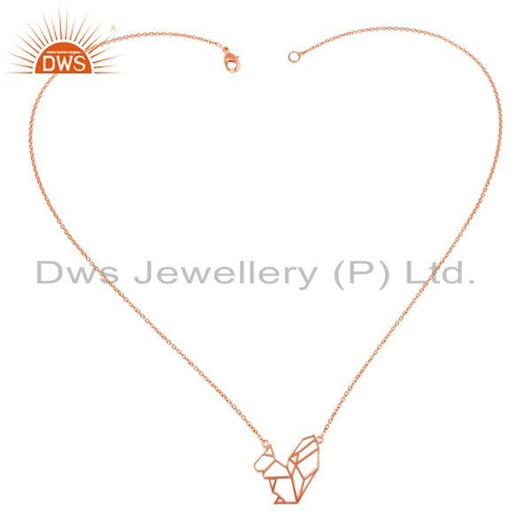Exporter 14K Rose Gold Plated 925 Sterling Silver Handmade Zig Zag Style Chain Pendant