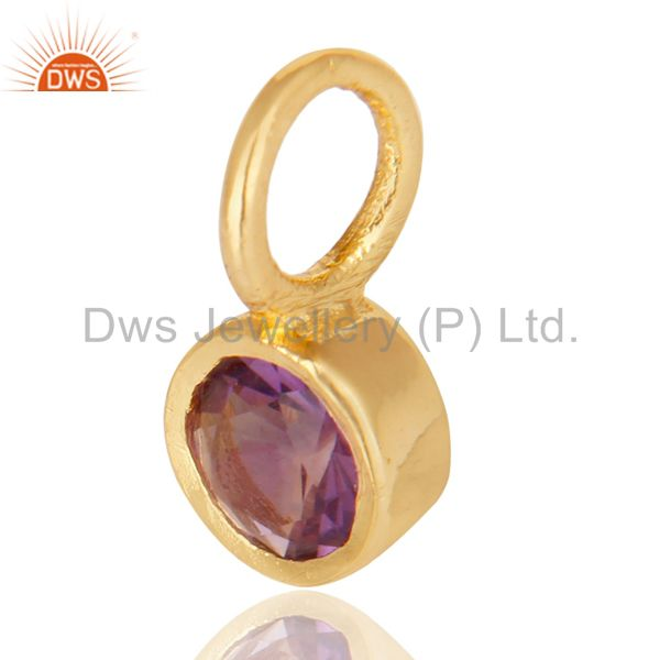 Exporter 14K Yellow Gold Plated 925 Sterling Silver Amethyst Connector Pendant Jewelry