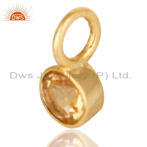 Exporter 14K Yellow Gold Plated 925 Sterling Silver Citrine Connector Pendant Jewelry
