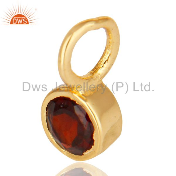 Exporter 14K Yellow Gold Plated 925 Sterling Silver Garnet Connector Pendant Jewelry