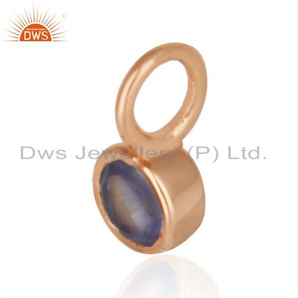 Exporter Natural Iolite Gemstone Rose Gold Plated 925 Silver Single Pendant Manufacturer