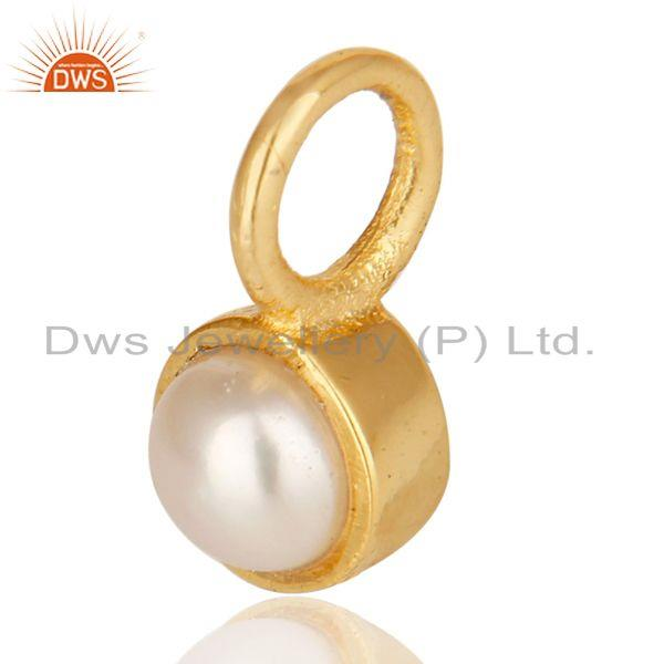 Exporter 14K Yellow Gold Plated 925 Sterling Silver Pearl Connector Pendant Jewelry