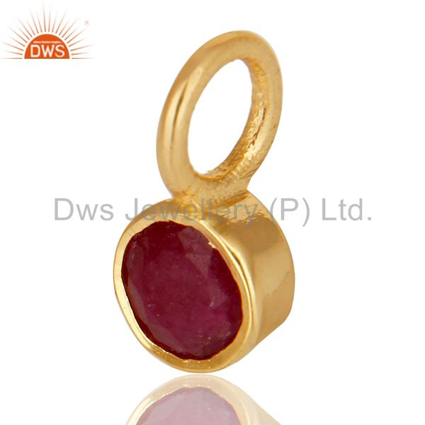 Exporter 14K Yellow Gold Plated 925 Sterling Silver Ruby Connector Pendant Jewelry