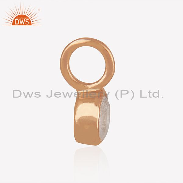 Exporter Rainbow Moonstone Rose Gold Plated 925 Silver Jewelry Findings Manufacturer