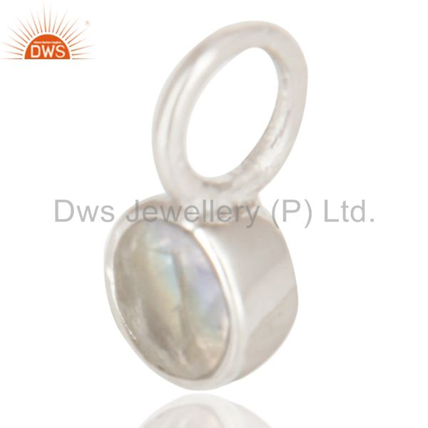 Exporter Beautiful Handmade Solid 925 Sterling Silver Rainbow Moonstone Connector Pendant