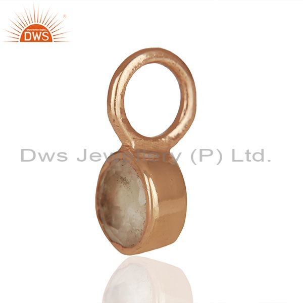 Exporter Rose Quartz Gemstone Rose Gold Plated 925 Silver Pendant Manufacturer