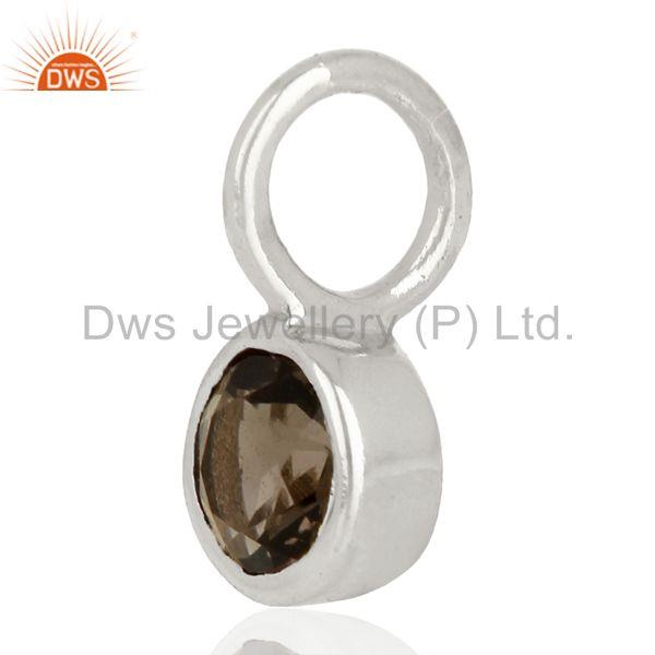 Exporter Smoky Topaz Round Shape Sterling Silver Silver Plated Connector Pendant Jewelry