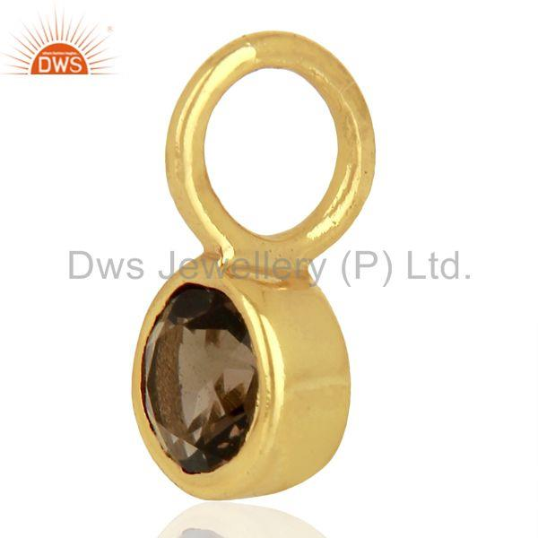 Exporter Smoky Topaz Sterling Silver 14K Yellow Gold Plated Connector Pendant Jewelry