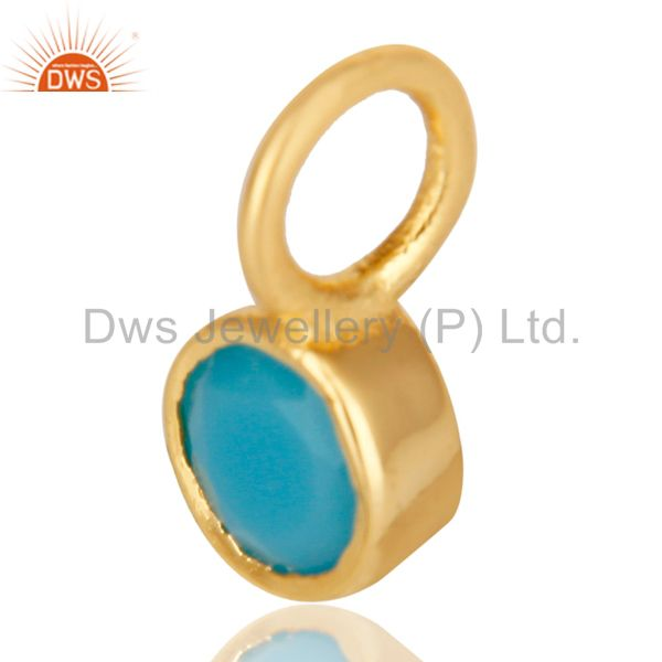 Exporter 14K Yellow Gold Plated 925 Sterling Silver Turquoise Connector Pendant Jewelry