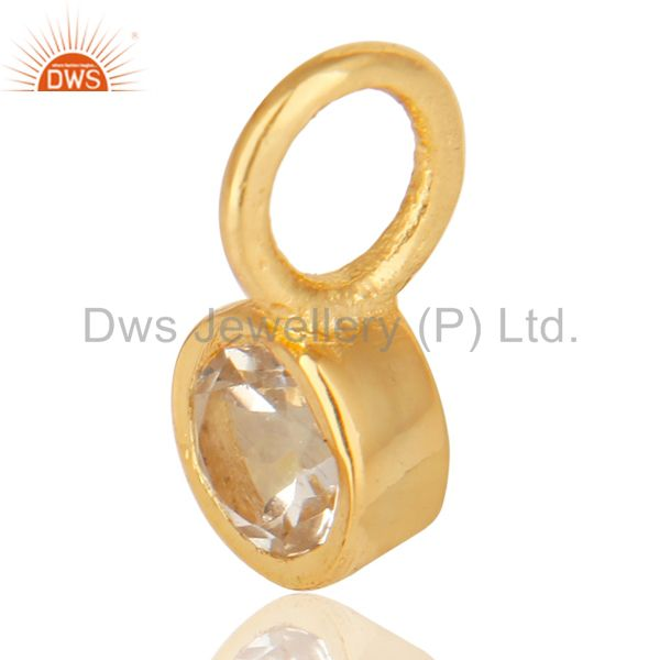 Exporter 14K Yellow Gold Plated 925 Sterling Silver White Topaz Connector Pendant