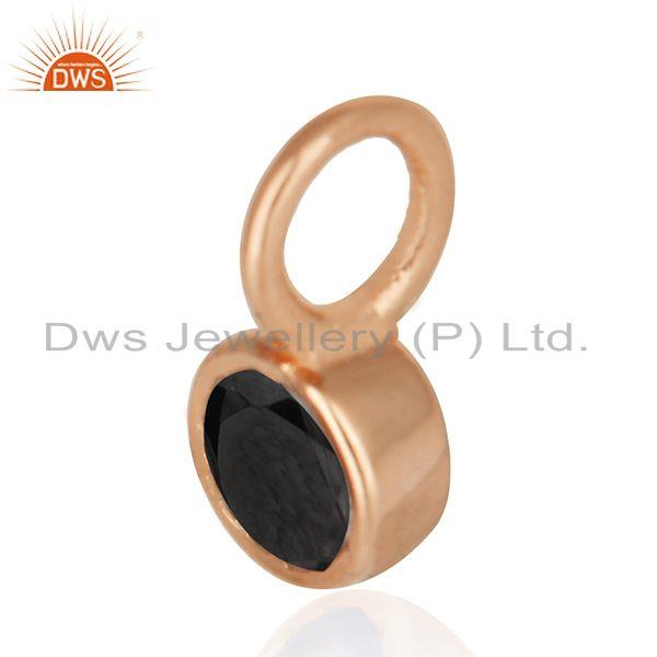 Exporter Rose Gold Plated 925 Silver Black Onyx Gemstone Single Pendant Manufacturer