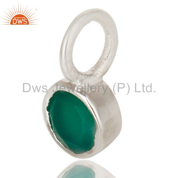 Exporter Beautiful Handmade Solid 925 Sterling Silver Green Onyx Connector Pendant