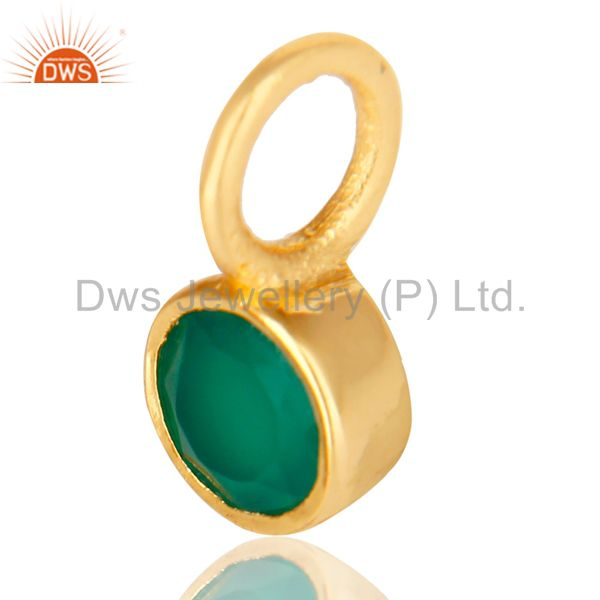 Exporter 14K Yellow Gold Plated 925 Sterling Silver Green Onyx Connector Pendant