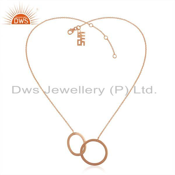 Exporter Circle Design Rose Gold Plated 925 Silver Indian Chain Necklace Manufacturer
