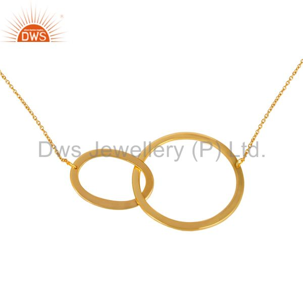 Exporter 14K Yellow Gold Plated 925 Sterling Silver Round Fashion Style Chain Pendant