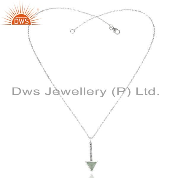 Exporter Aqua Chalcedony Triangle Cut 92.5 Sterling Silver Chain Pendent,Long Pendent